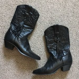 Women's black leather cowboy boots with fringe